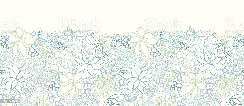 Silver Succulent Plants Horizontal Seamless Pattern Ornament royalty-free stock vector art