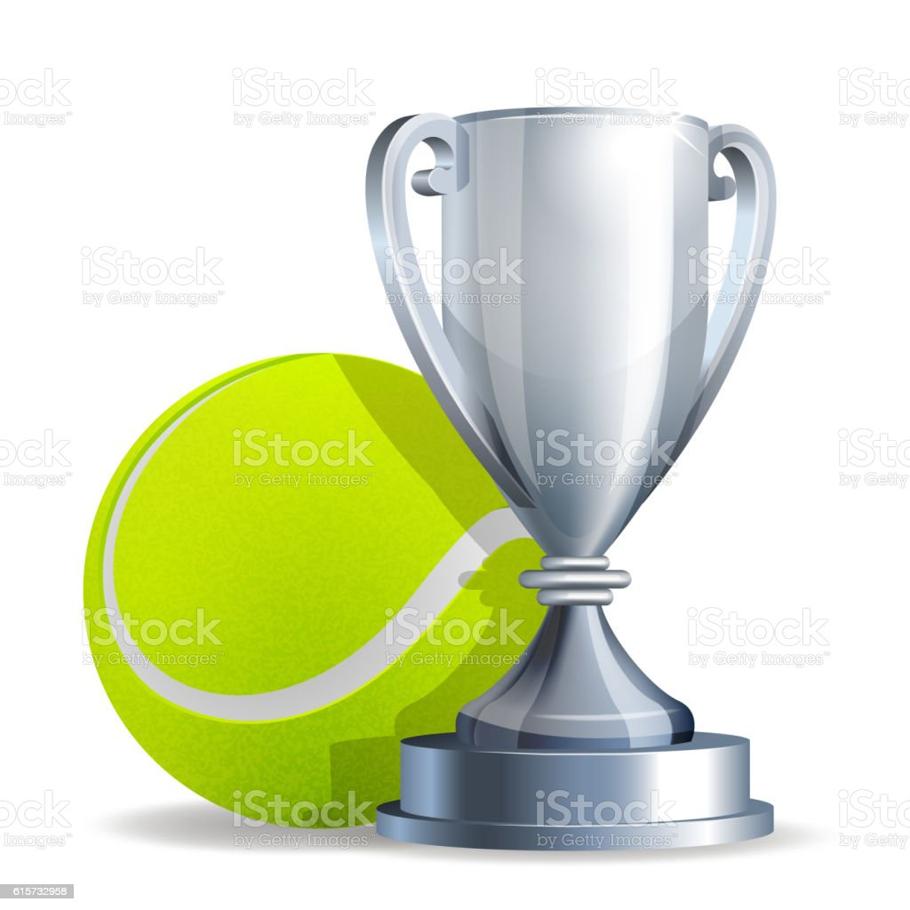 Silver trophy cup with a Tennis ball vector art illustration