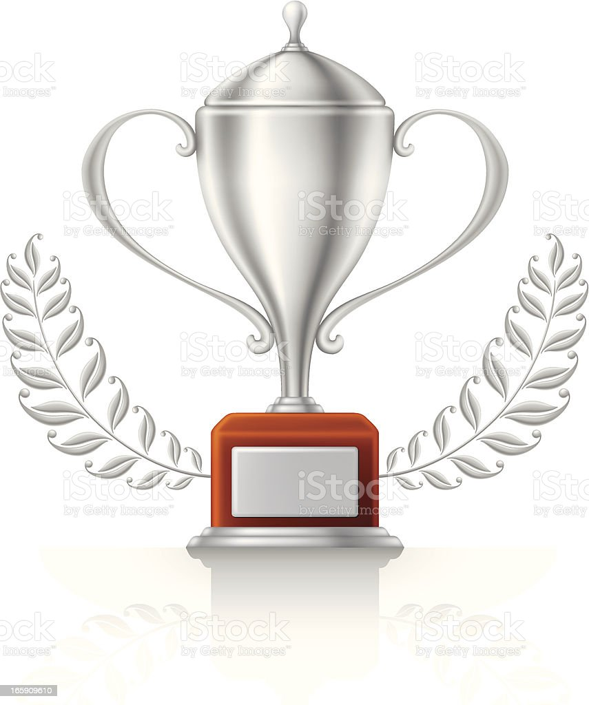 Silver Trophy with Laurel royalty-free stock vector art