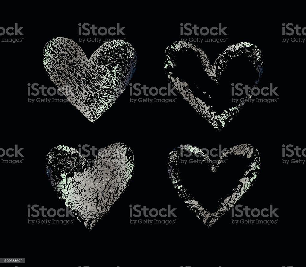 Silver vector hearts vector art illustration