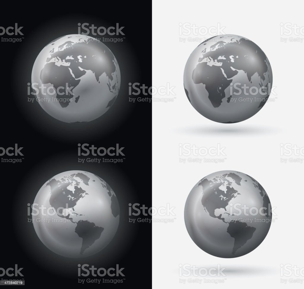 Silver world globe vector art illustration