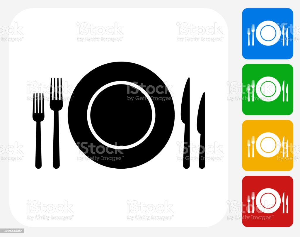 Silverware and Plate Icon Flat Graphic Design vector art illustration