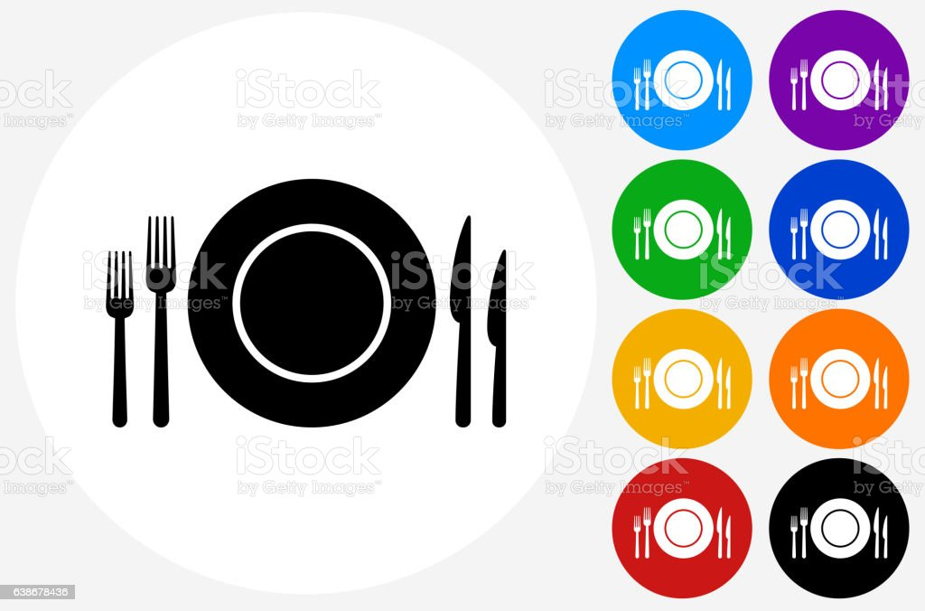 Silverware and Plate Icon on Flat Color Circle Buttons vector art illustration