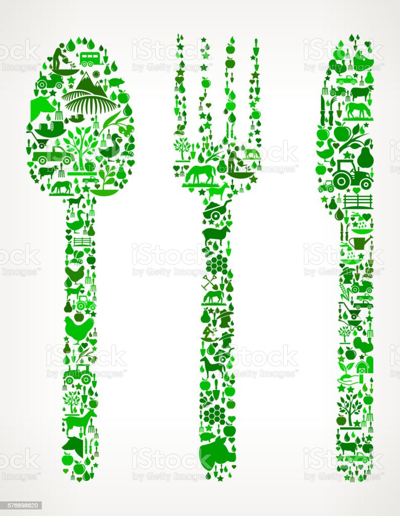 Silverware Farming and Agriculture Green Icon Pattern vector art illustration
