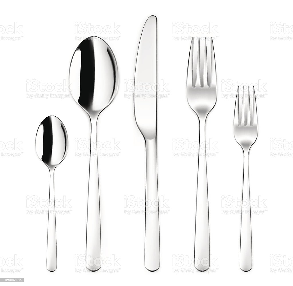 Silverware Set with Spoon, Fork, Kinife vector art illustration