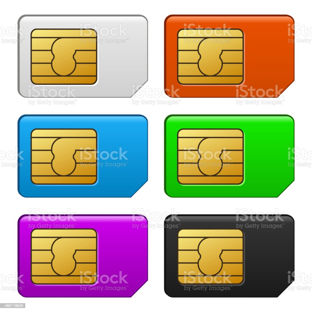 Sim Card Color Set. Vector Illustration royalty-free stock vector art