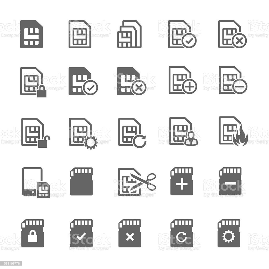 sim card icons vector art illustration