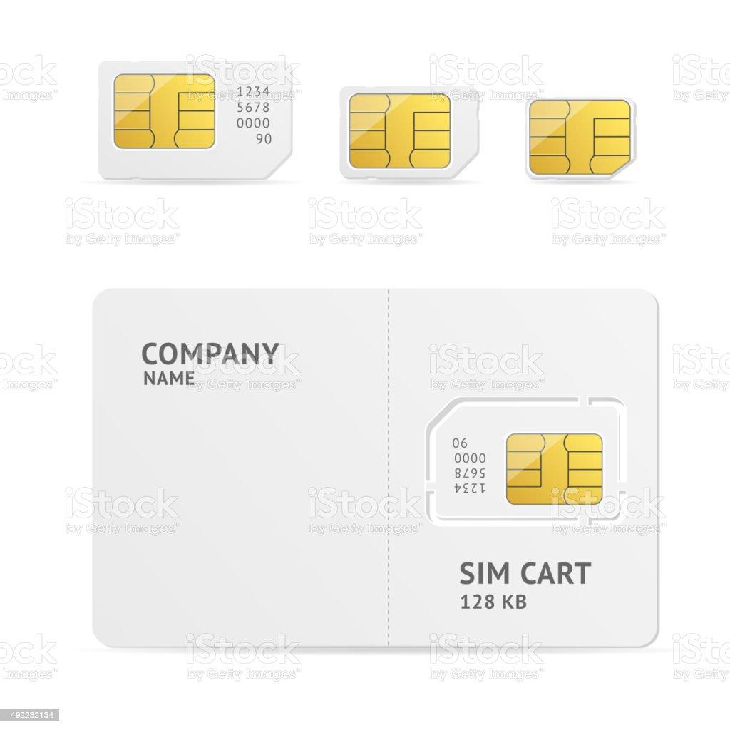 Sim Card Set. Vector vector art illustration