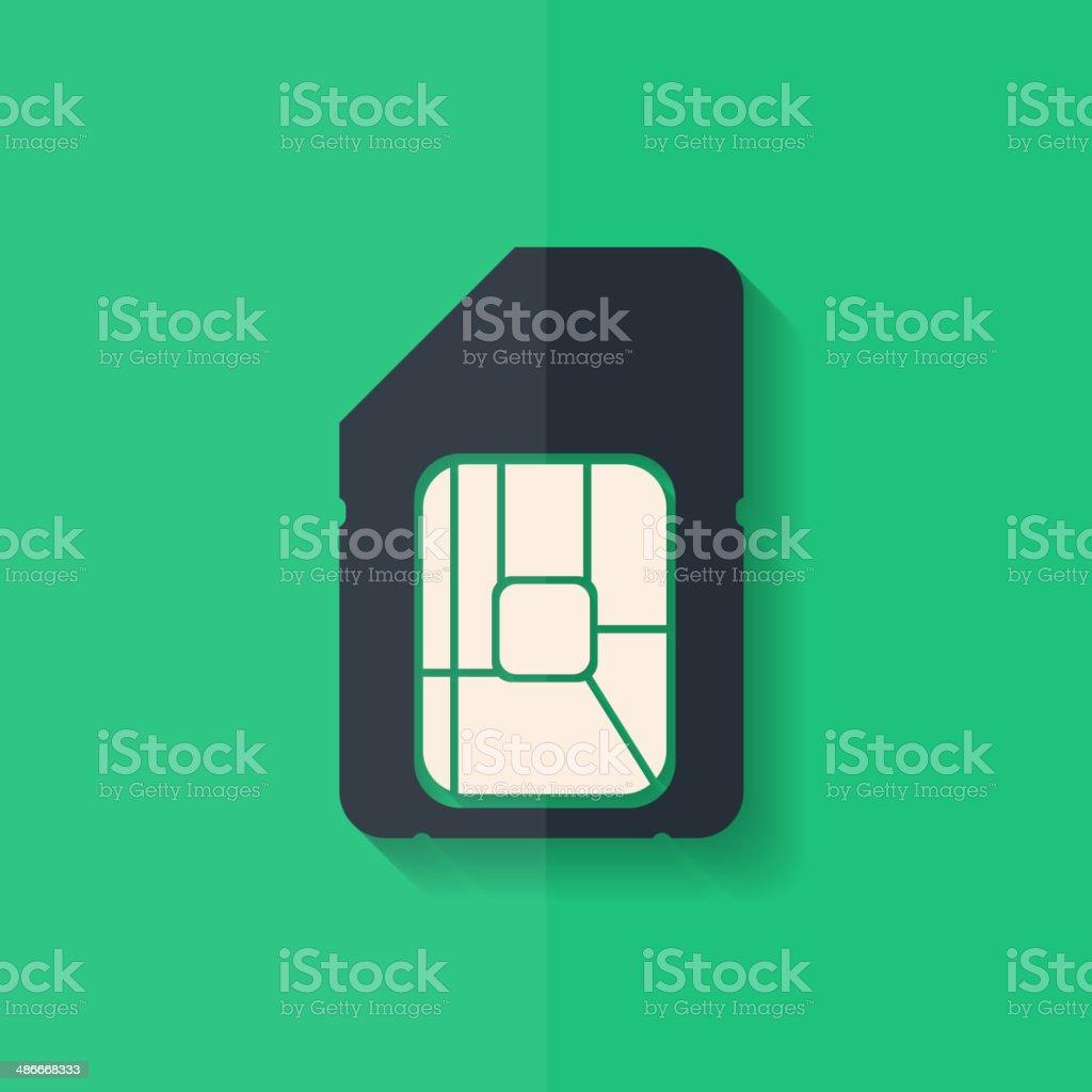 Sim card web icon. Flat design. vector art illustration