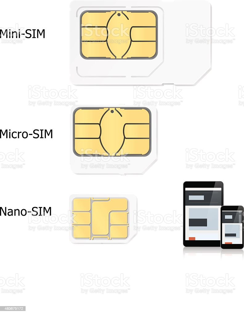 Sim cards  different types. Vector illustration vector art illustration
