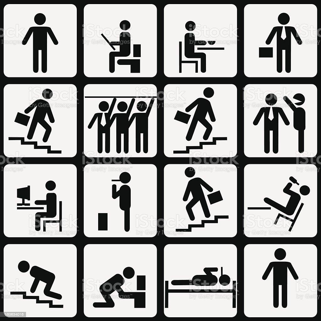 Simbolic life of Office Worker vector art illustration