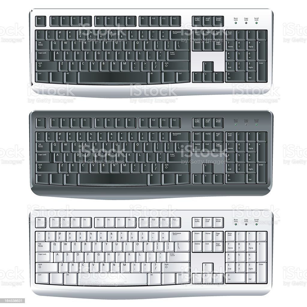 2 similar black and 1 white keyboard vector art illustration