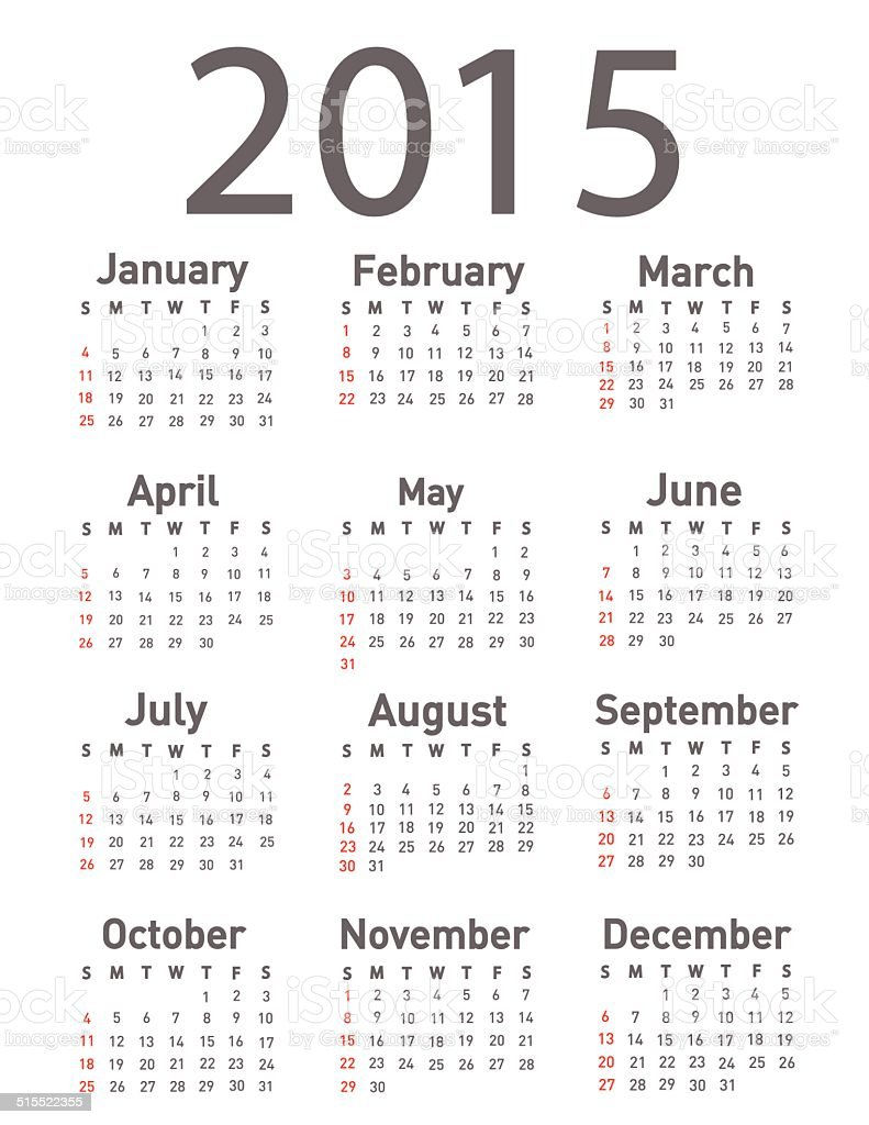 Simple 2015 year calendar vector art illustration