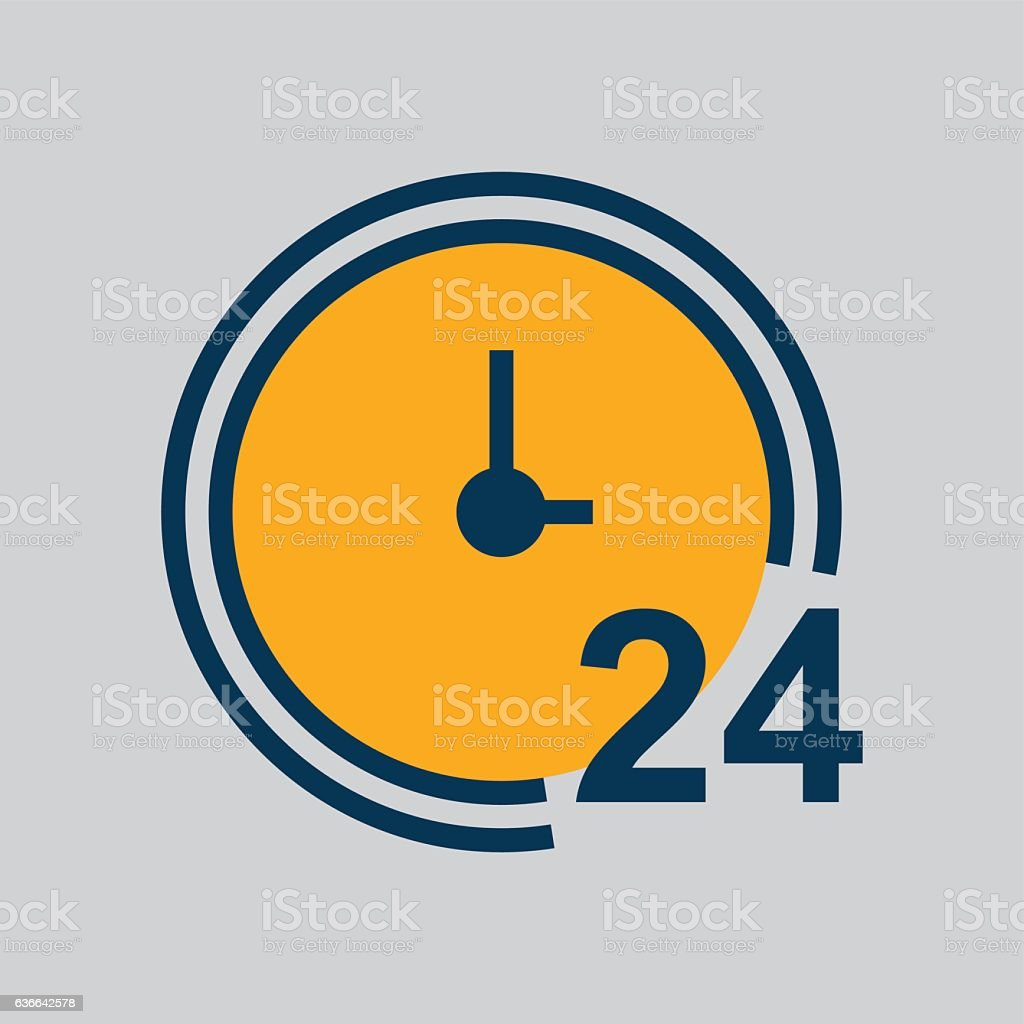 Simple 24 Hours Service Icon vector art illustration