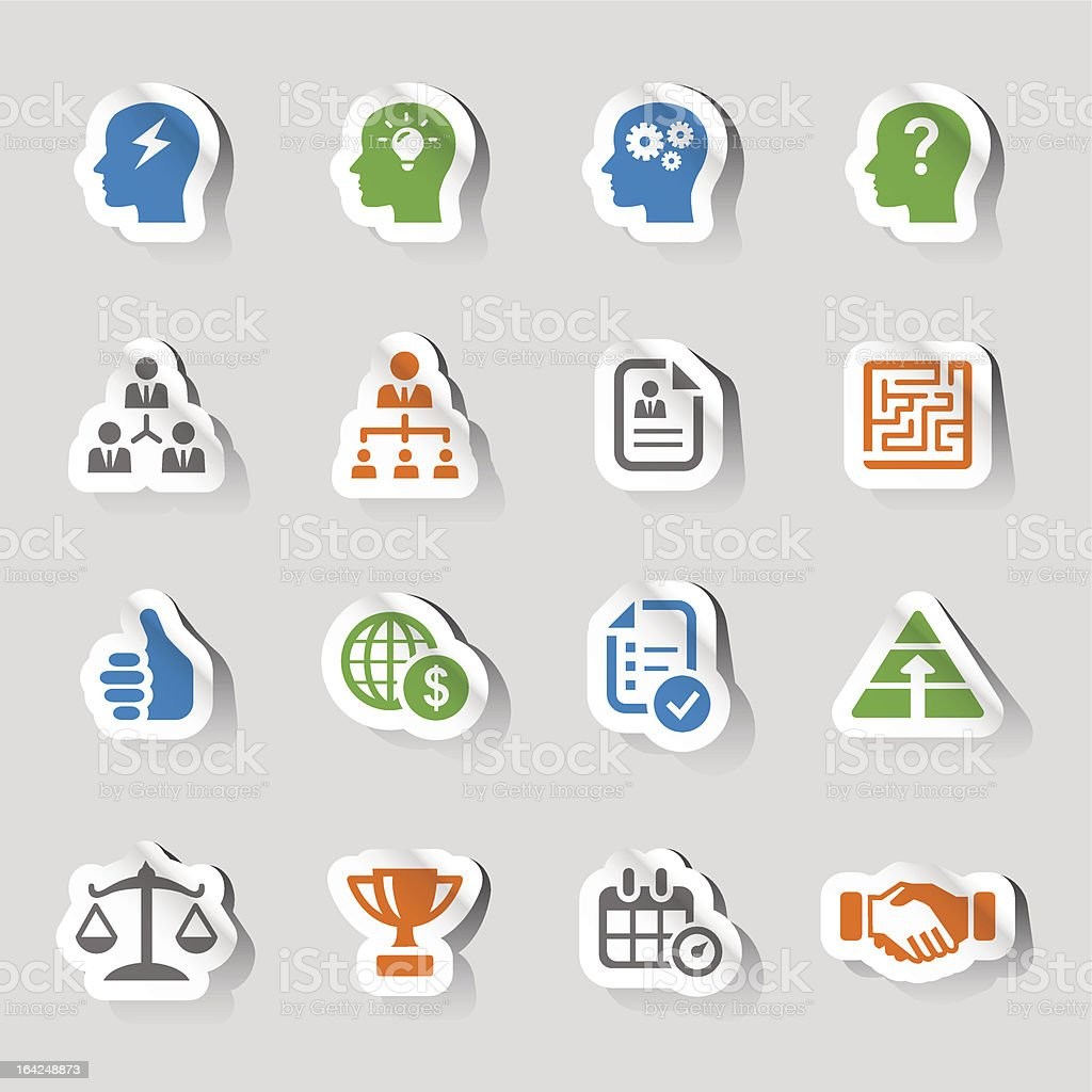 16 simple 2d business graphics that look like stickers vector art illustration