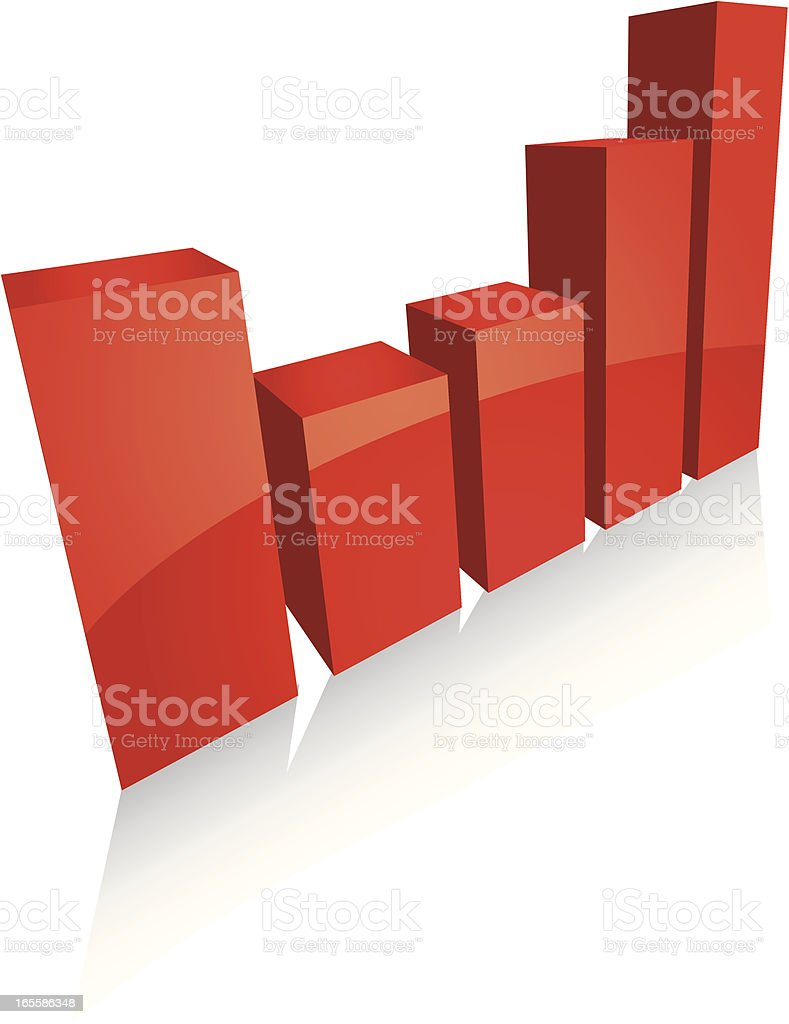 Simple 3D Barchart vector art illustration