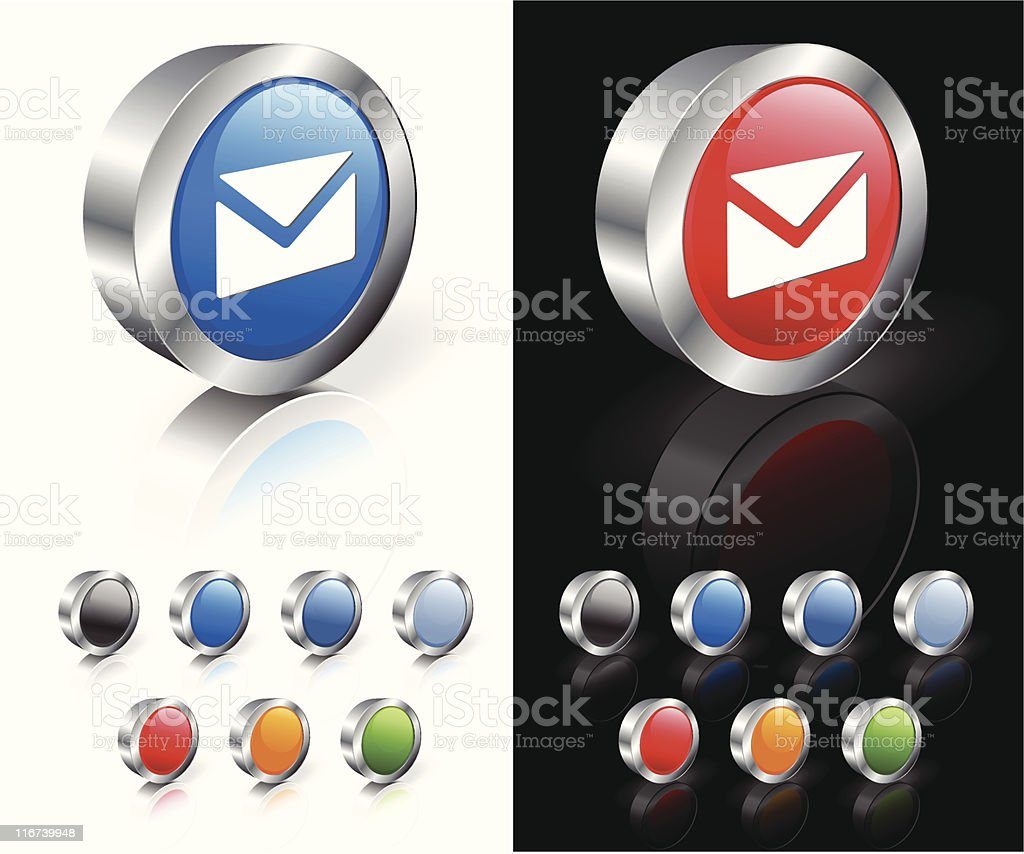 Simple 3D buttons with envelopes on them royalty-free stock vector art