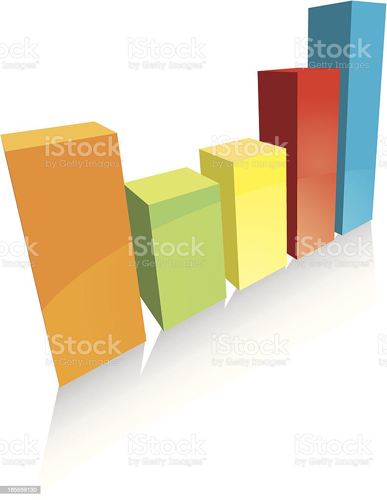 Simple 3D Multi Coloured Bar Chart vector art illustration