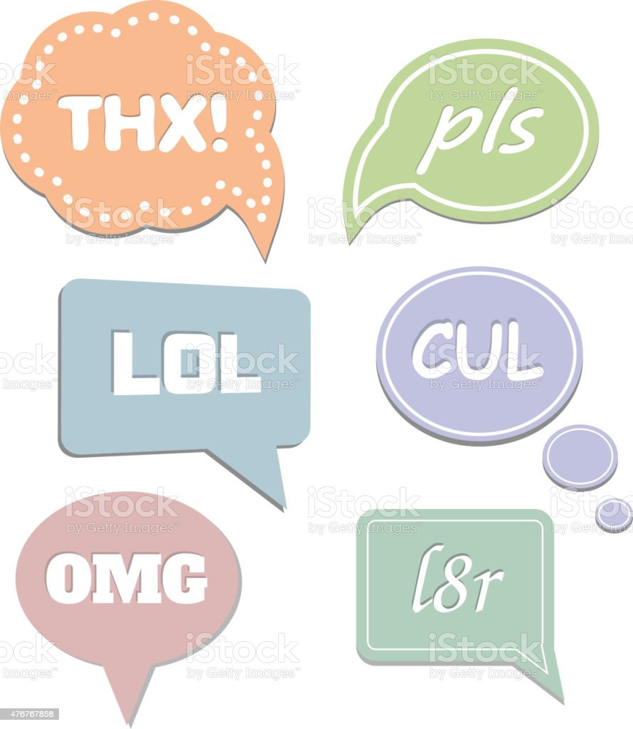 Simple abbreviations speech bubbles. LOL and THX, OMG, pls. Vector vector art illustration