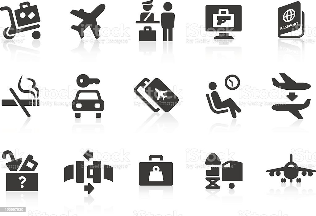 Simple airport and travel vector icons vector art illustration