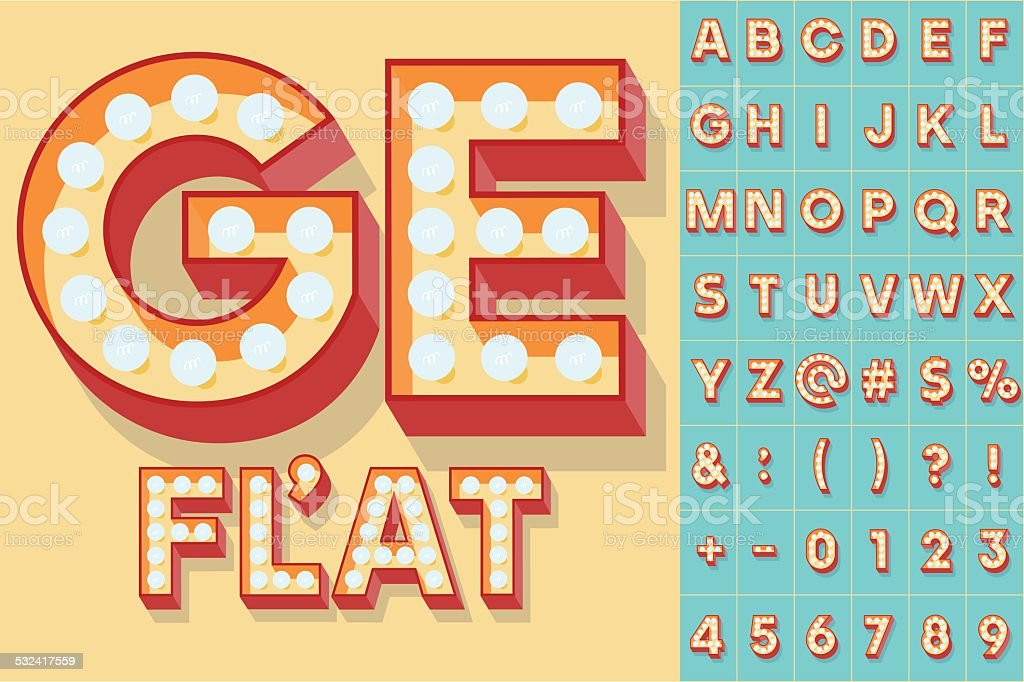 Simple and clear flat lamp alphabet vector art illustration