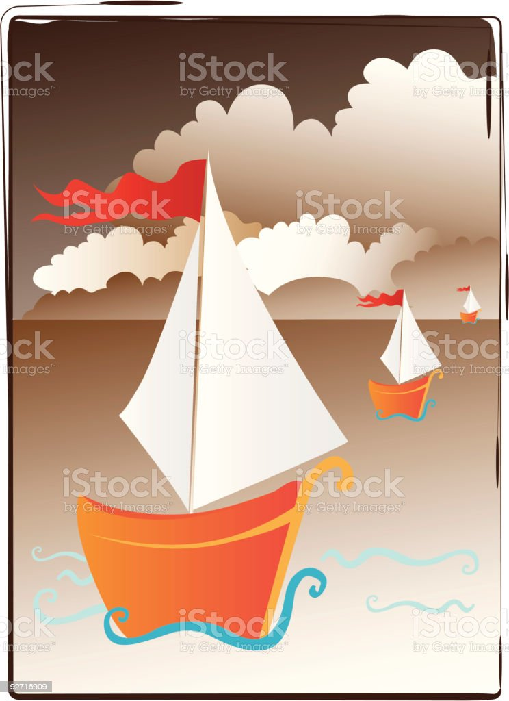 Simple and nice boats on the sea royalty-free stock vector art