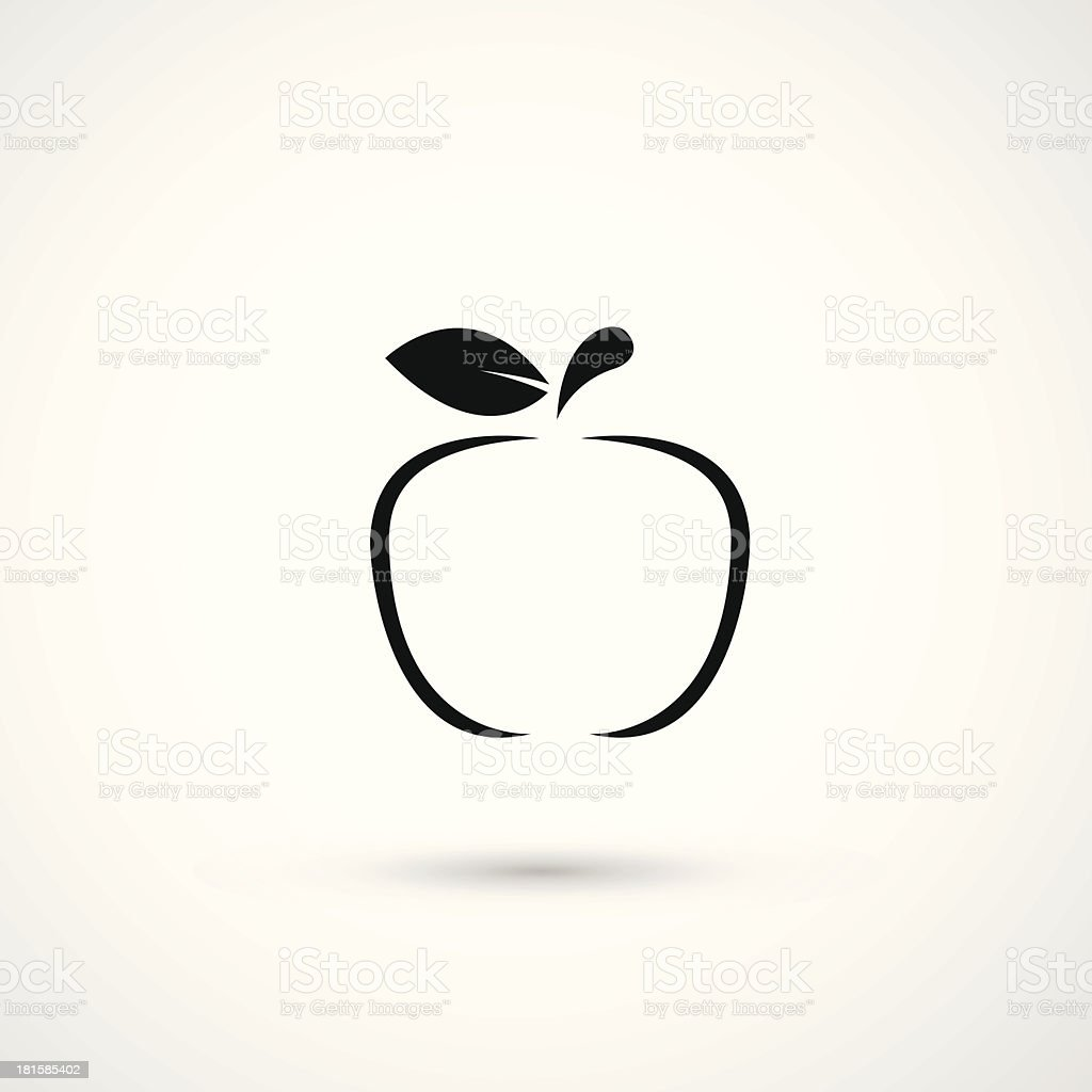 A simple apple ink icon on white royalty-free stock vector art