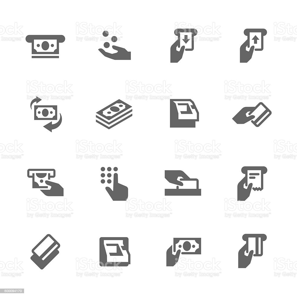 Simple ATM Icons vector art illustration