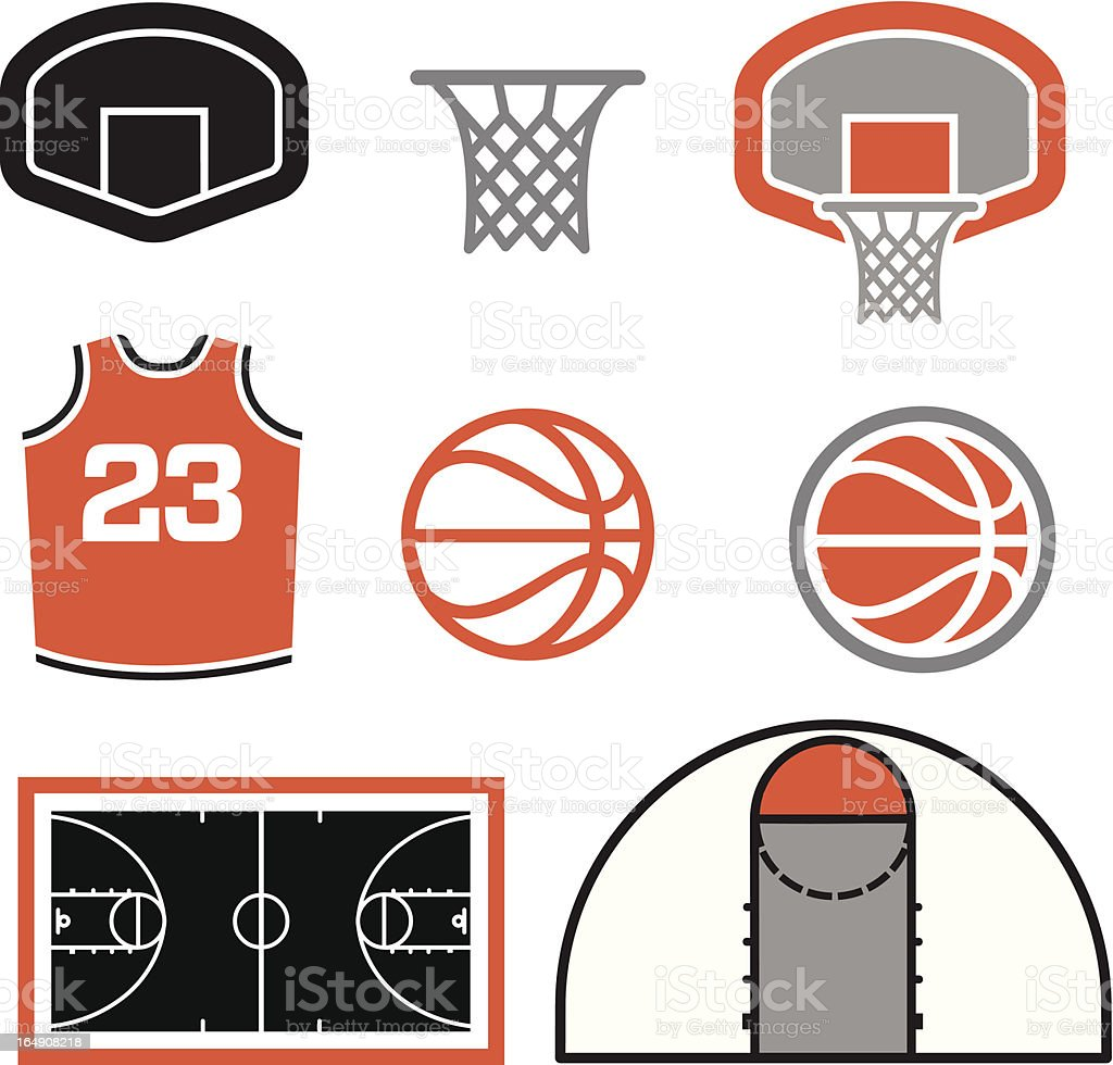 Simple Basketball Vector Elements vector art illustration