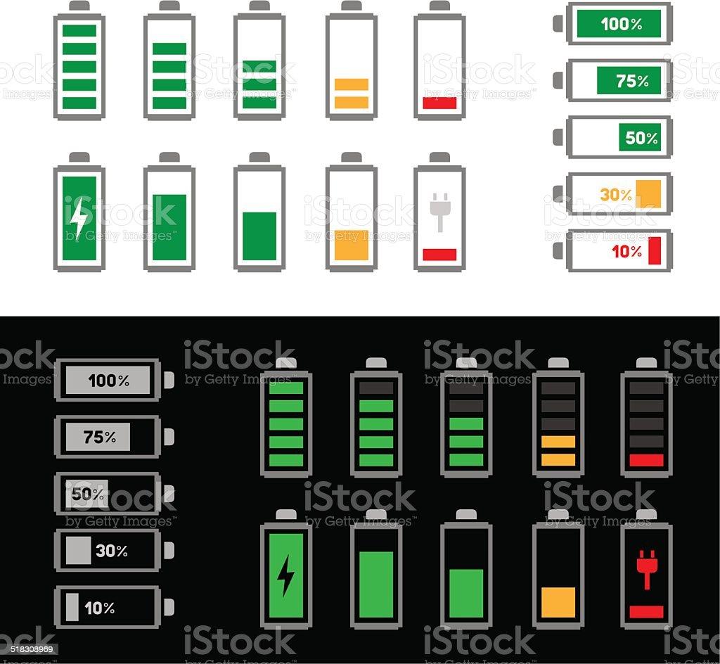 simple battery icon set vector art illustration