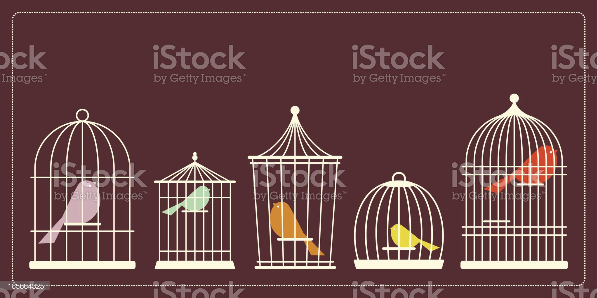 Simple Bird Cages royalty-free stock vector art
