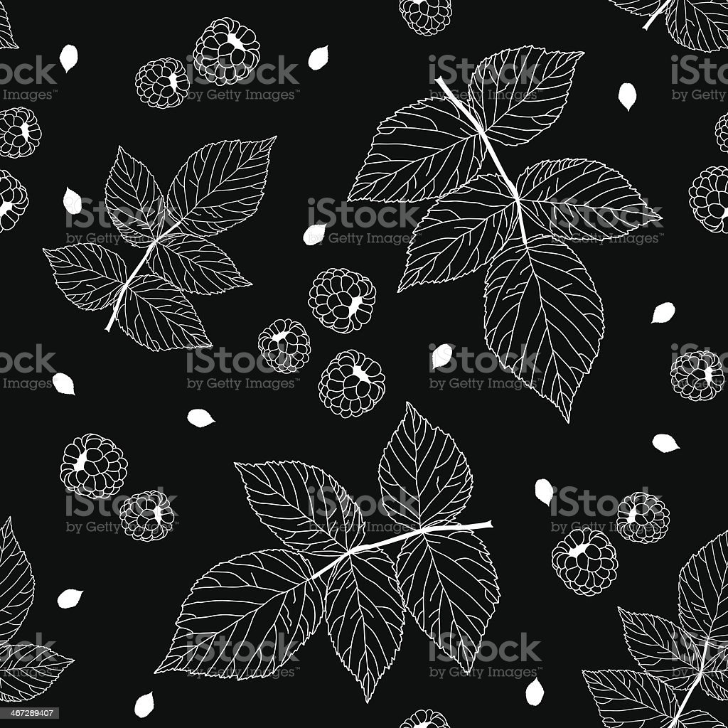 Simple black and white seamless pattern with raspberries, blackb royalty-free stock vector art