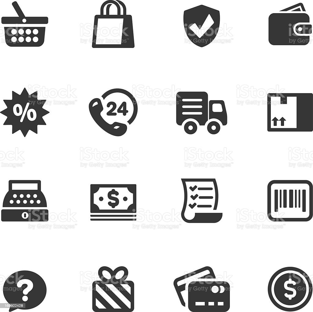 Simple black graphic icons of retail and shopping vector art illustration