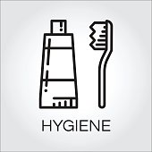 Simple black icon of toothpaste and brush in outline style