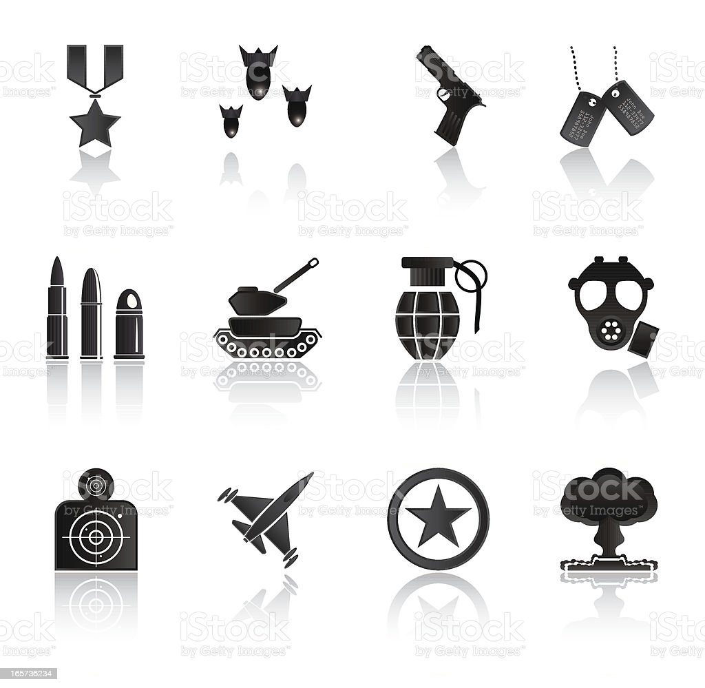 Simple Black Icons: Military and Warfare vector art illustration