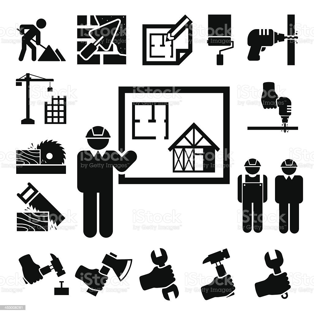 Simple black icons with construction and design theme royalty-free stock vector art