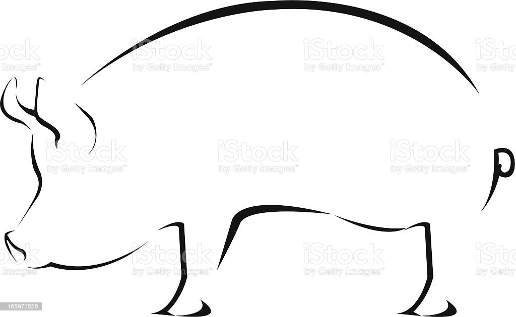 A simple black ink drawing of a pig on a white background royalty-free stock vector art
