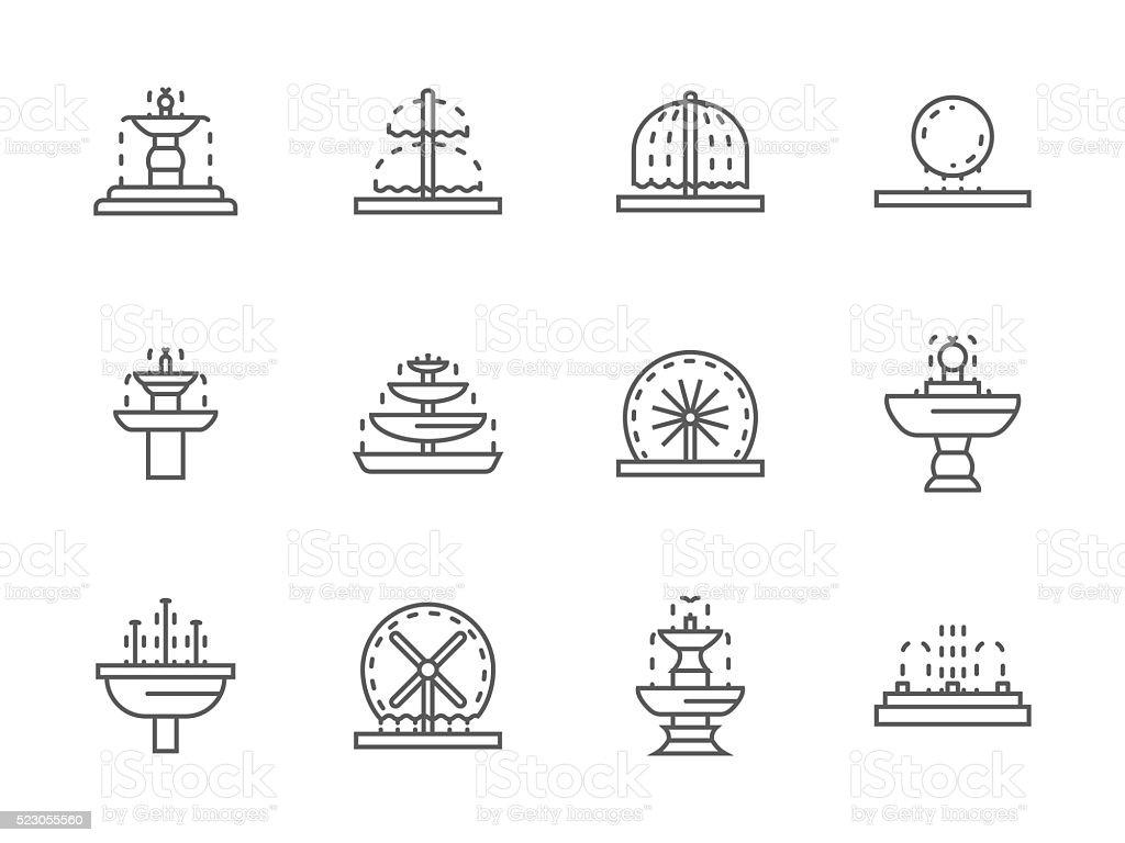 Simple black line street fountains vector icons vector art illustration