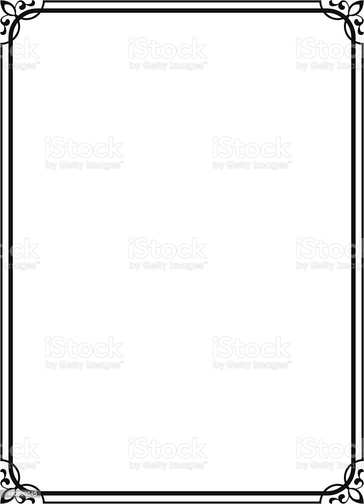 simple black ornamental decorative frame vector art illustration