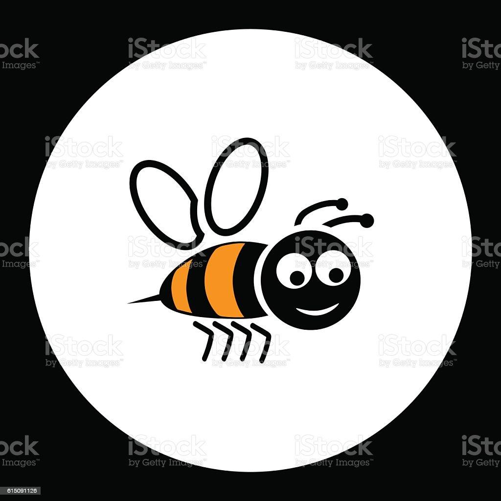 simple black smiling happy bee icon eps10 vector art illustration
