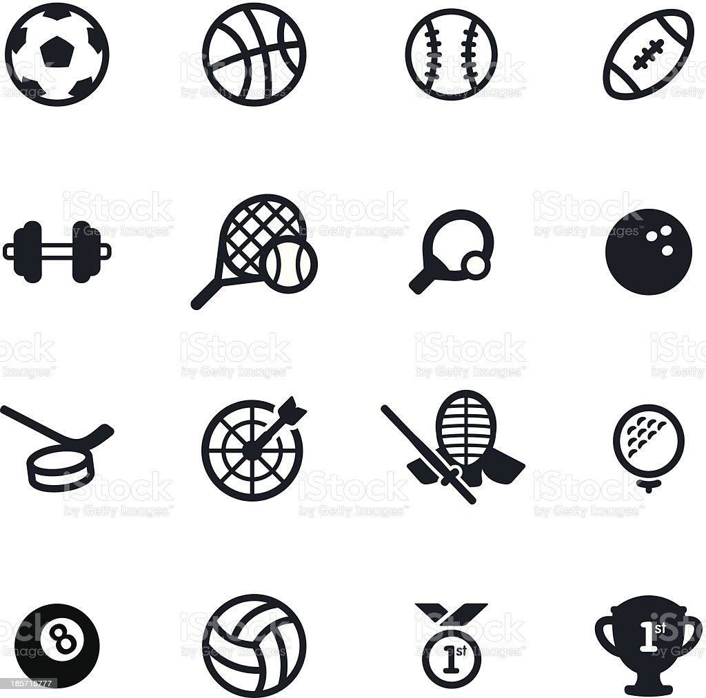 16 simple black sports icons on a white background vector art illustration