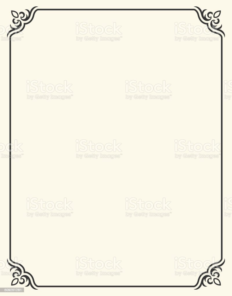 Simple Blank Frame with Fleur De Lis vector art illustration