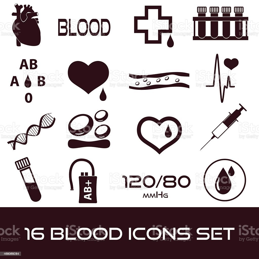 16 simple blood vector icons set eps10 vector art illustration