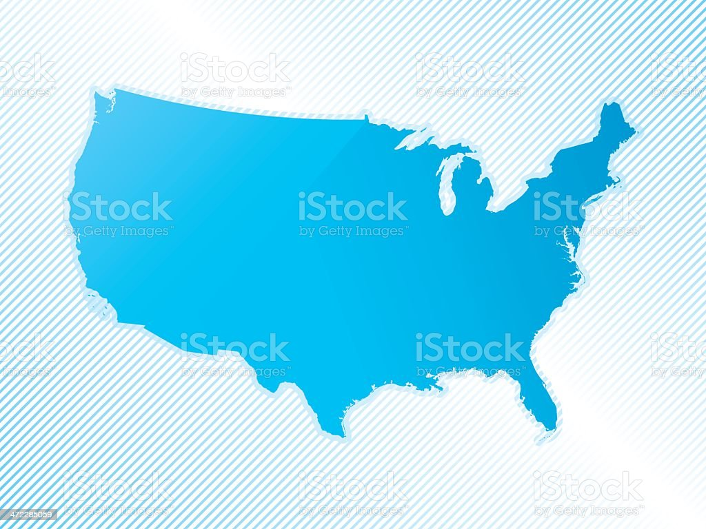 Simple blue map of mainland USA on striped background royalty-free stock vector art