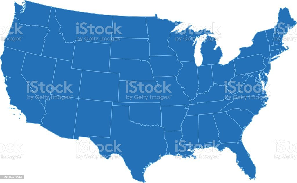 USA simple blue map on white background vector art illustration