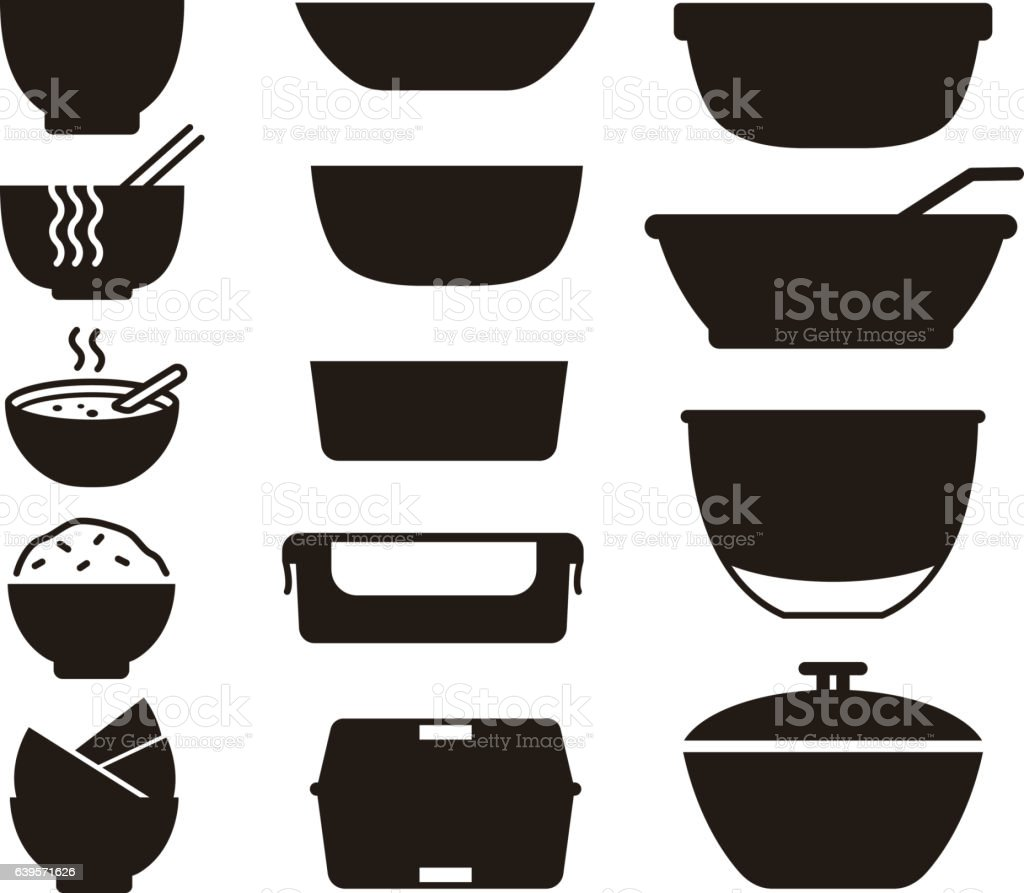 simple bowls and plates icon set, vector illustration vector art illustration