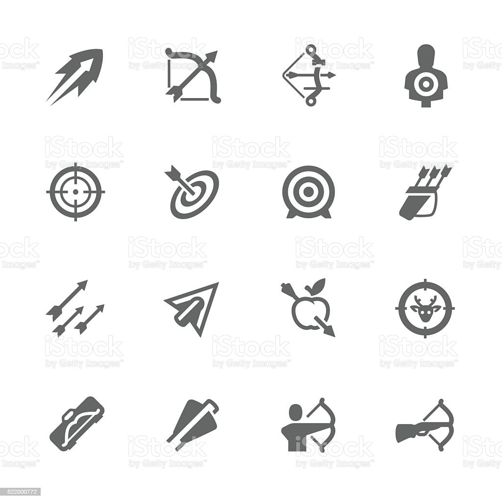 Simple Bows and arrows icons vector art illustration