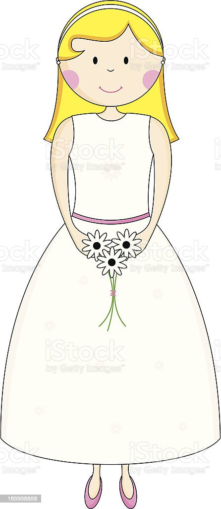 Simple Bridesmaid Character Icon vector art illustration