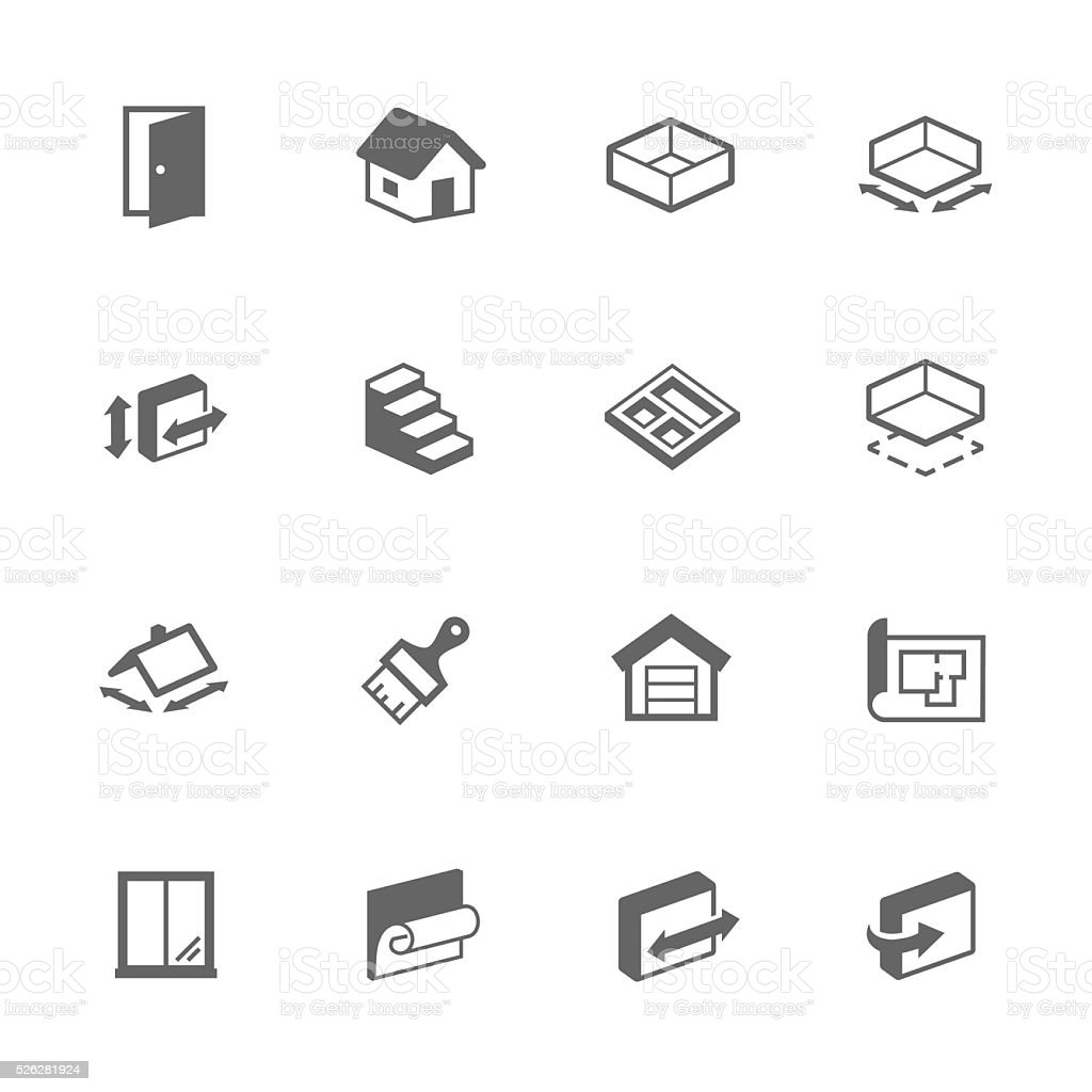 Simple Building House Icons vector art illustration