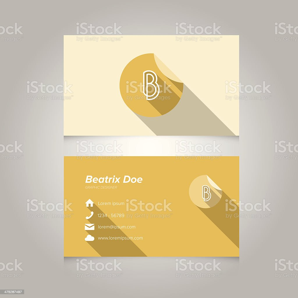 Simple Business Card Template with Alphabet Letter B vector art illustration